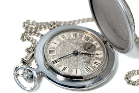 Men luxury pocket watch on white background. Studio shot with shallow DOF