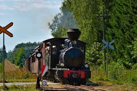 Schmalspur-Dampfeisenbahn zieht Personenwagen mit Touristen Minkiö, Finnland