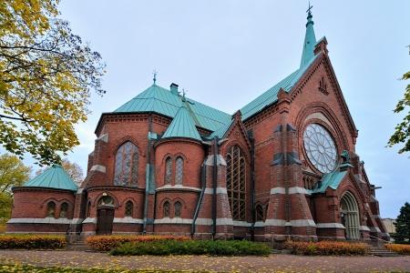 Red brick Kotka church in Finland