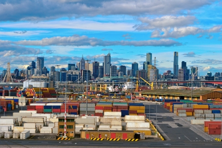 container port: View of the port of Melbourne, Australia