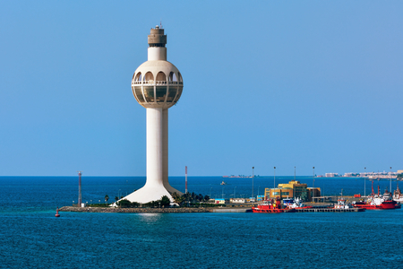 Jeddah Light (Jeddah Port Control Tower) is an active lighthouse in Jeddah, Saudi Arabia. With a height of approximately 113 metres (371 ft) it has a credible claim to be the worlds tallest lighthouse. Редакционное