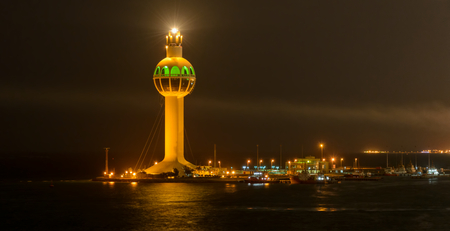 Jeddah Light (Jeddah Port Control Tower) is an active lighthouse in Jeddah, Saudi Arabia. With a height of approximately 113 metres (371 ft) it has a credible claim to be the worlds tallest lighthouse. Editorial