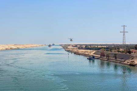 convoy: Ships convoy passing through Suez Canal