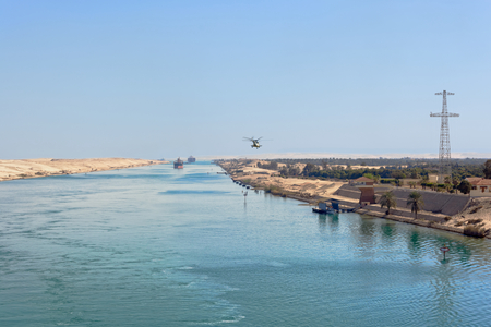 Ships convoy passing through Suez Canal