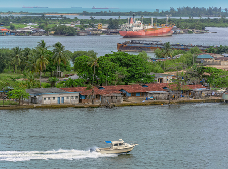 nigeria: African town on the riverside. Lagos, Nigeria, Africa Stock Photo