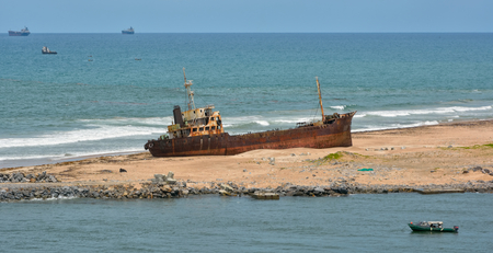 ship wreck: Ship wreck. Apapa, Port of Lagos, Nigeria