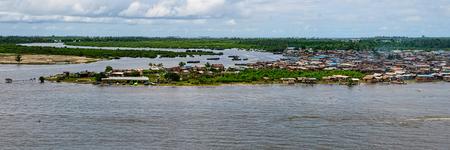 African town on the riverside. Lagos, Nigeria, Africa Stok Fotoğraf
