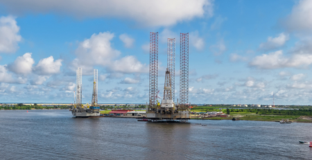 Oil rig in the yards. Apapa, Port of Lagos, Nigeria