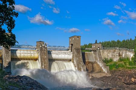 Beginning of spillway on hydroelectric power station dam in Imatra - Imatrankoski, Finland.