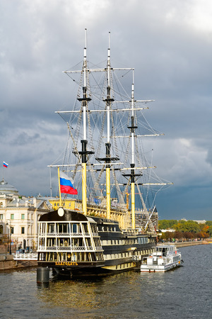 Historical reconstruction of the three-decked ship Blagodat (Grace) of the line end of the XVIII century at the pier in Neva river, St. Petersburg, Russia Stock Photo