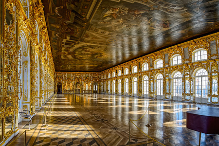 Catherine Palace ballroom hall in Tsarskoe Selo (Pushkin), St. Petersburg, Russia Editorial