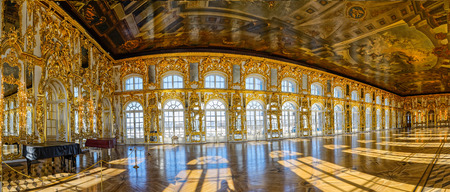 Panorama of Catherine Palace ballroom hall in Tsarskoe Selo (Pushkin), St. Petersburg, Russia. Several shot. Editorial