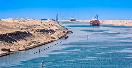 Ship's convoy passing through Suez Canal