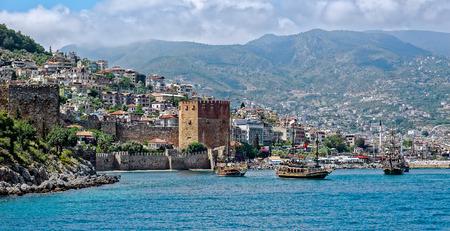 alanya: Panoramic view of Alanya, Turkey, from seaside Stock Photo