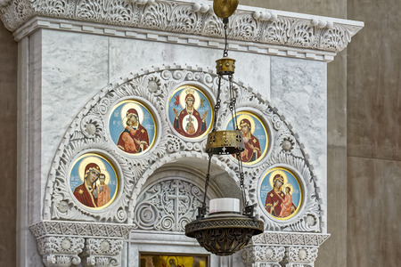 st nicholas cathedral: The painting on the dome of the Naval Cathedral of Saint Nicholas in Kronstadt, near Saint-Petersburg, Russia. Religious paintings and icons Editorial