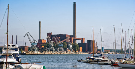powerhouse: Thermal power plant in summer sunny day. Helsinki waterfront, Finland.