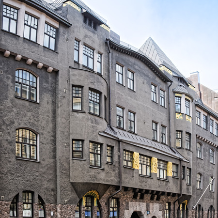 historical building: Historical building exterior in Helsinki district Kruununhaka (Swedish: Kronohagen), Finland.