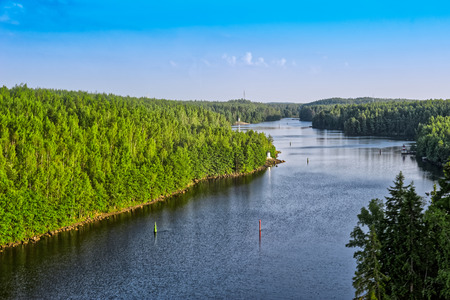 point of view: High point view of Saimaa Canal (Finnish: Saimaan kanava) that connects lake Saimaa with the Gulf of Finland near Vyborg, Russia. The canal was built from 1845 to 1856