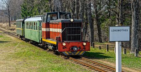 narrowgauge: Old narrow-gauge railway. Passenger train with diesel locomotive. Latvia.