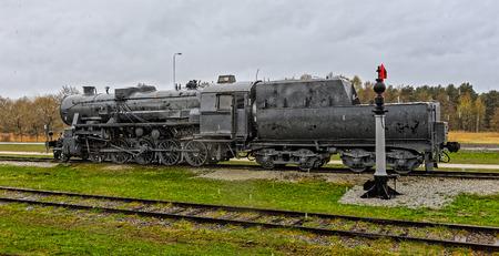 heavy rain: Old steam locomotive under heavy rain. Haapsalu, Estonia Stock Photo
