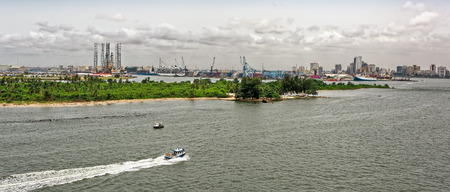 Panorama of african town Lagos from riverside. Nigeria, Africa