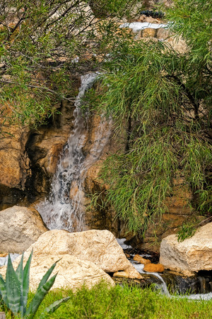mountain oasis: Small waterfall in mountain oasis at border of Sahara, Tunisia, Africa Stock Photo