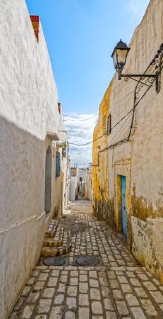 medina: Picturesque small narrow street in Medina de Sousse, Tunisia, Africa