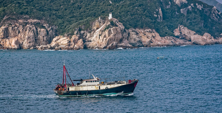 commercial fishing: Commercial fishing trawler boat near Hong Kong