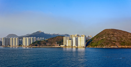hong kong island: Sunset view to highrise residential apartments building in Repulse Bay, Hong Kong island