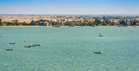 commercial fisheries: Traditional fishing boats in Suez canal, Egypt Stock Photo