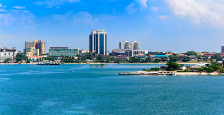 Panorama of Dar Es Salaam City Centre with waterfront and ships