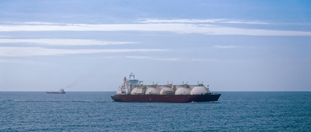 Gas tanker transporting liquid natural gas by sea