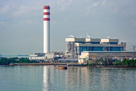 factory power generation: Giant coal-fired power station at waterfront in Johor, Malaysia.