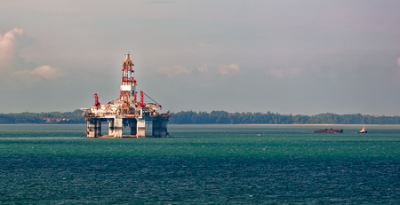 ships at sea: Floating Offshore drilling rig platform at Singapore Strait