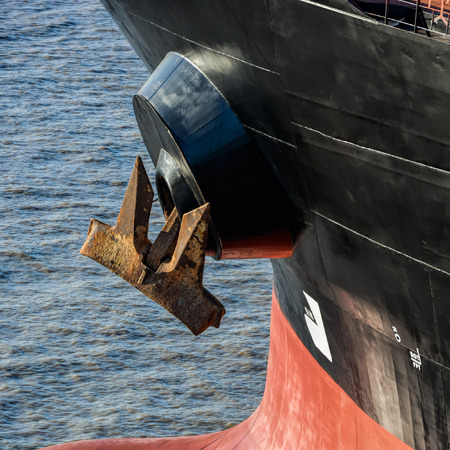 water anchor: Bulbous bow and anchor of oil supertanker