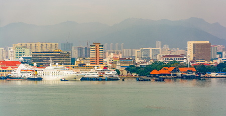 sea port: Panoramic view of waterfront of George Town, Penang, Malaysia, from seaside
