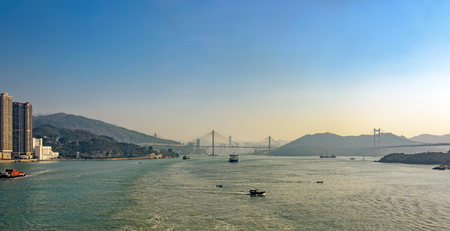 ting: Sunset view to suspended Ting Kau Bridge and Tsing Ma Bridge, Tsing Yi Island, Hong Kong, China