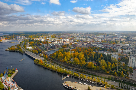 Aerial view to old town of Tampere, Finland