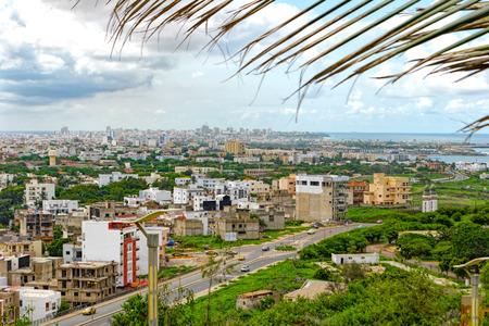 Aerial view to Dakar and shore of Atlantic ocean. Senegal, Africa