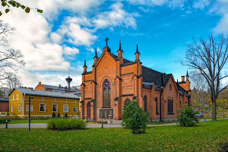 gothic revival: The Finlayson Church is a church representing the Gothic Revival Architecture located in Tampere, Finland, in the Finlayson industrial area. It was built in 1879 as the church of the Finlayson cotton factory. Currently the church belongs to the Evangelist Stock Photo