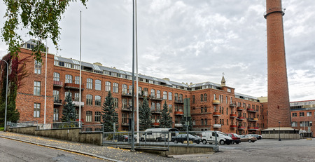 famous industries: The spinning mill of the former wool factory of Klingendahl in Tampere, Finland. The building was constructed in the early 1900s, was obviously expanded later and now converted tovarious offices and apartments.
