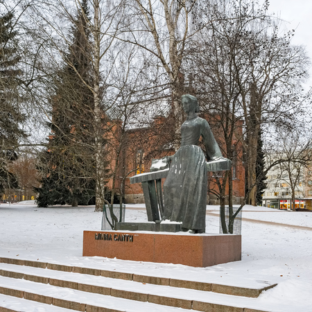 wilhelmina: JYVASKYLA, FINLAND - JANUARY 04, 2016: Memorial of Minna Canth on January 04, 2016 in Jyvaskyla, Finland. Minna Canth, born Ulrika Wilhelmina Johnsson, 1844-1897 was a Finnish writer and social activist. Minna Canth is the first woman to receive her own f