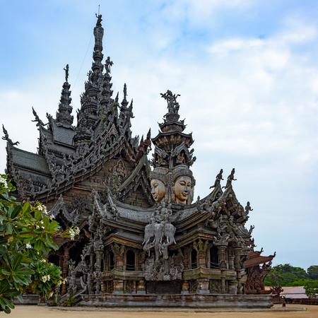 chonburi: The Wood Sanctuary of Truth in Pattaya, Chonburi, Thailand.