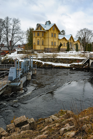 hydroelectric power station: Verla mill village. Lock-gates of old hydroelectric power station and residential building of local director with Pytinki tower section, known as the cartridge pytinki.