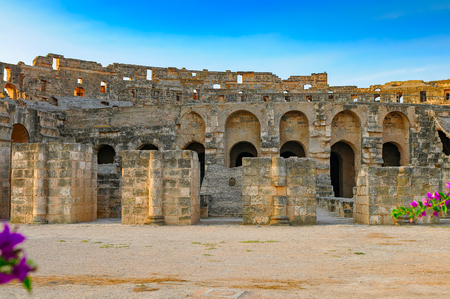 archaeological site: The Roman Amphitheatre of archaeological site El Jem (Thysdrus), Tunisia on a sunrise