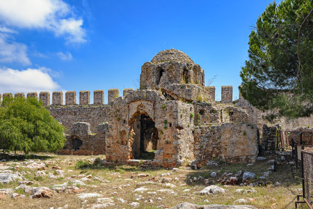 an era: Stone ruins of the Byzantine Era Church of St. George inside Alanya Castle, Turkey Stock Photo