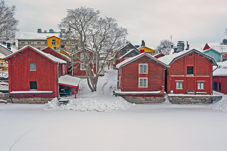 cold storage: Riverside storage buildings in Old Porvoo at cold winter day