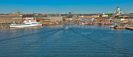 point of view: High point view to Helsinki South harbour embankment at sunny summer morning Stock Photo