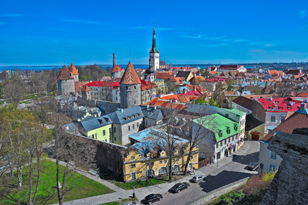 point of view: Traditional high point view to an old city in Tallinn, Estonia, in sunny spring day.