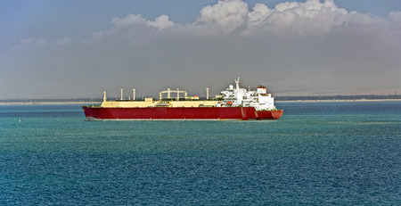 liquefied: Gas tanker LNG transporting  liquefied natural gas sea Stock Photo